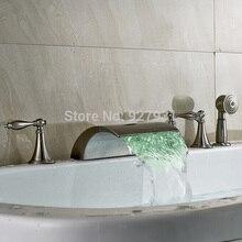 Роскошные LED Водопад Ванна Кран Набор с Ручной Душ На Бортике Три Ручки Ванной Кран