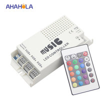 3 load rgb led strip music ir controller 24 key ir wireless remote sound control led music controller dc 12/24v(China)