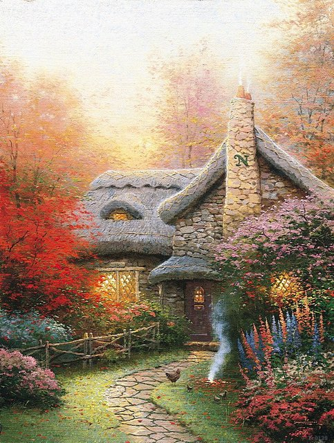 Thomas Kinkade Autumn At Ashley's Cottage printed canvas painting Contemporary artists modern art wall decor art picture