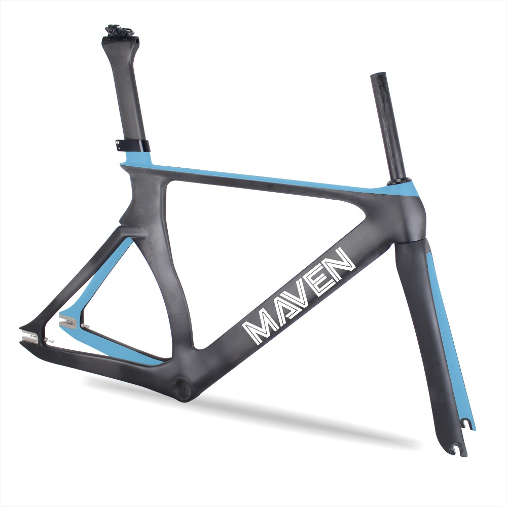 MAVEN Paint 700C Carbon Track Bike Frame 48.5/52/54/57cm Fixed gear Bicycle Frameset with Fork Seatpost Carbon bicycle frame 2018 new full carbon track frame carbon track bike frameset with fork seatpost road carbon frames fixed gear bike frameset