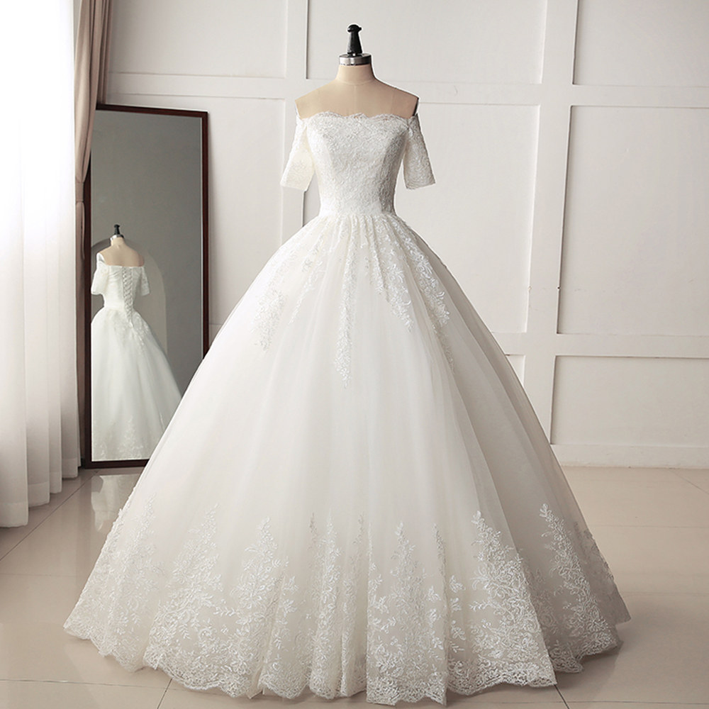 Simple Wedding Dress Without Train 2019 Boat Neck Half Sleeve Vestidos De Novia Lace Up Back Abito Da Sposa Luxury Suknia Slubna