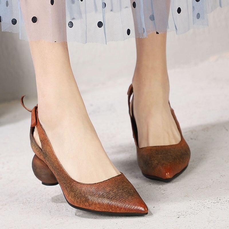 A Retro Mano Cuero Genuino 2019 Brownness Grueso Baja Primavera Tacón Nuevo Punto Boca Cómodo Zapatos Mujer Verano De Hecho qSzwC
