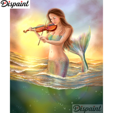 Dispaint Full Square/Round Drill 5D DIY Diamond Painting Mermaid violin3D Embroidery Cross Stitch Home Decor Gift A12131