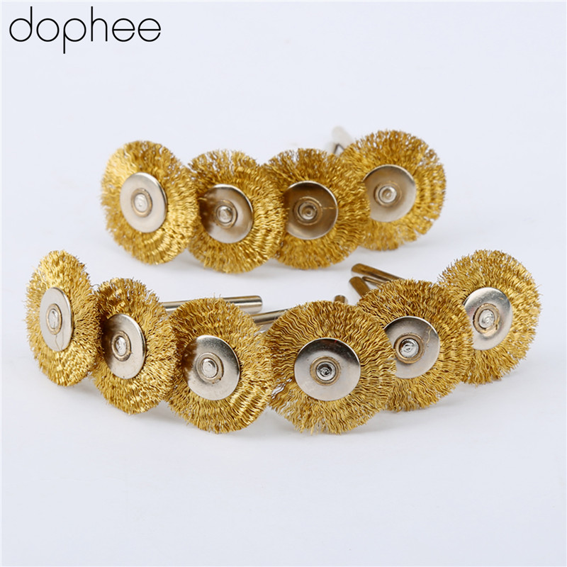 Dophee 10PCS Dremel 3.17mm Steel Copper Wire Wheel Brushes Steering-Wheel For Grindering Polishing Dremel Rotary Tools 22mm