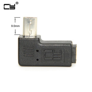 Micro USB 2.0 5Pin Male to Female M to F Extension connector Adapter 9mm Long plug Connector 90 Degree Right & Left Angled(China)