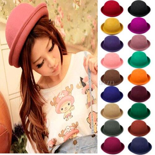 10x Moda Fedora Chapéu de Feltro de Lã Das Mulheres Do Vintage Senhora Bonito Na Moda Bowler Derby Cap Chapéu Chapéus Bonés