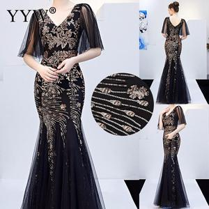 Image 1 - Black Mesh & Gold Floral Sequined V Neck Mermaid Dress Luxury Formal Evening Party Long Dress Batwing Sleeve Sexy Nightclub Wear