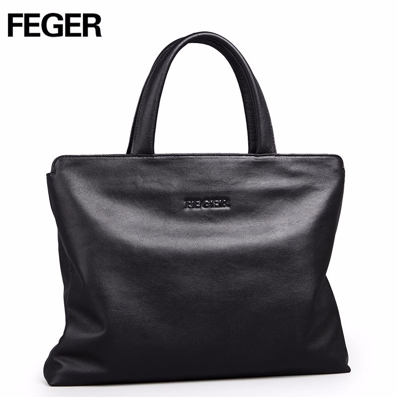FEGER <font><b>big</b></font> capacity man leather handbag best style famous brand business hand bag laptop briefcase for man free shipping