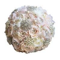 Ebedi Melek 2017 yeni el yapımı açık pembe gelin düğün çiçekler kristaller gelin düğün buket alaşım broş tutan çiçekler