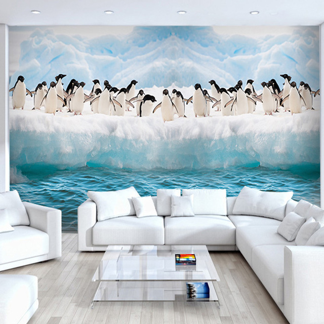 Custom Size Penguin Live Wallpaper Antarctic Ice Large Murals 3d TV Sofa Childrens Bedroom Dining Room