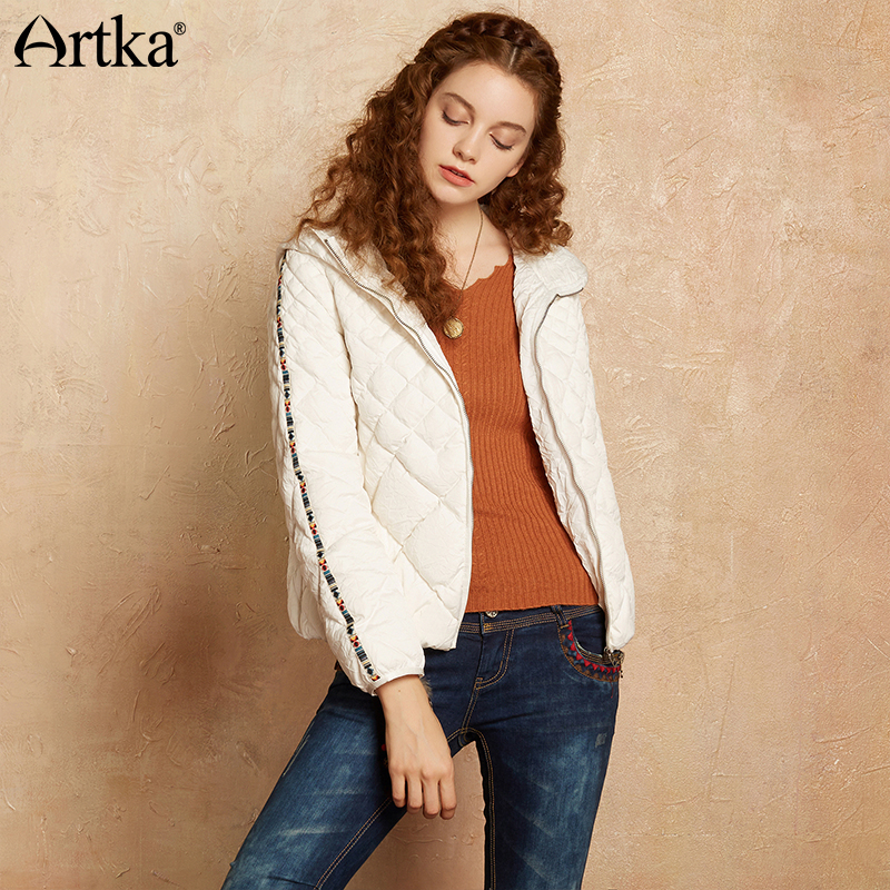 Здесь продается  Artka Ultra Light Down Jacket Women Quilted Coats 2018 Winter Puffer Jacket Hooded Basic Edition White Duck Down Parka DK10076D  Одежда и аксессуары