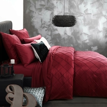 luxury bed linen washed silk hand embroidered checks bedding set king queen size duvet cover bed sheet pillow case 4/6pcs/wine