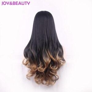 Image 2 - Peluca de pelo largo ondulado resistente al calor JOY & BEAUTY, pelucas sintéticas, negro, marrón, ombre 3/4, peluca de mujer de 60cm