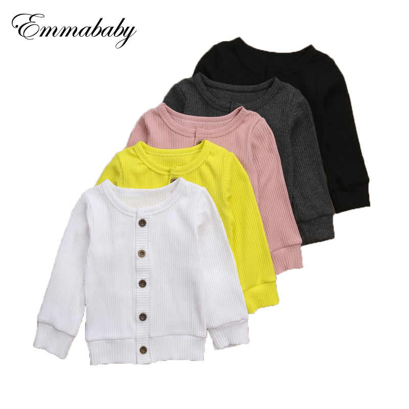 Emmababy 2018 Newborn Infant Kids Baby Girls Buttons Knitted Sweater Cardigan Coat Solid Tops Clothes Autumn 0-24M