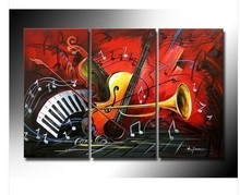 3pc Oil Painting Wall Decor Musical Instruments on canvas