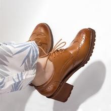 Yinzo النساء أكسفورد مضخات أحذية vintage جلد طبيعي سيدة مضخات أكسفورد الكعوب أحذية للنساء الأسود براون أحذية 2020 الربيع