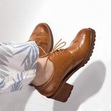 Yinzo zapatos de tacón oxford de piel auténtica para mujer, calzado vintage, color negro y marrón, para Primavera, 2020