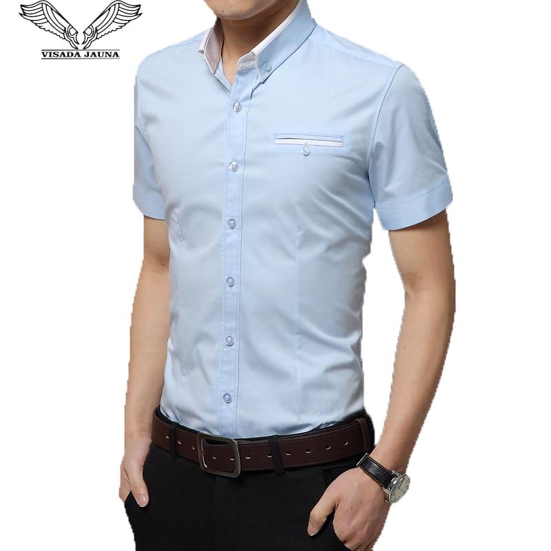 VISADA JAUNA Férfi alkalmi ing Nyári új márka Tömör rövid ujjú Fit vékony férfi ing pamut vékony Camisas szociális masculina N955