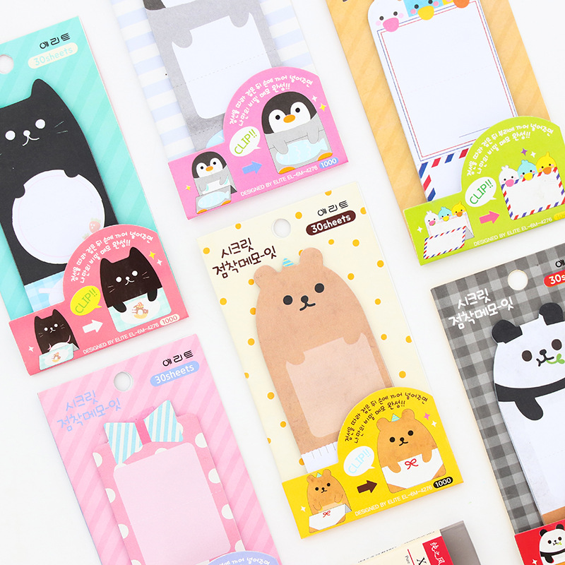 Cute Cat Panda Penguin Animal Kawaii Sticky Notes Post It Memo Pad School Supplies Planner Stickers Paper Bookmarks gift for kid