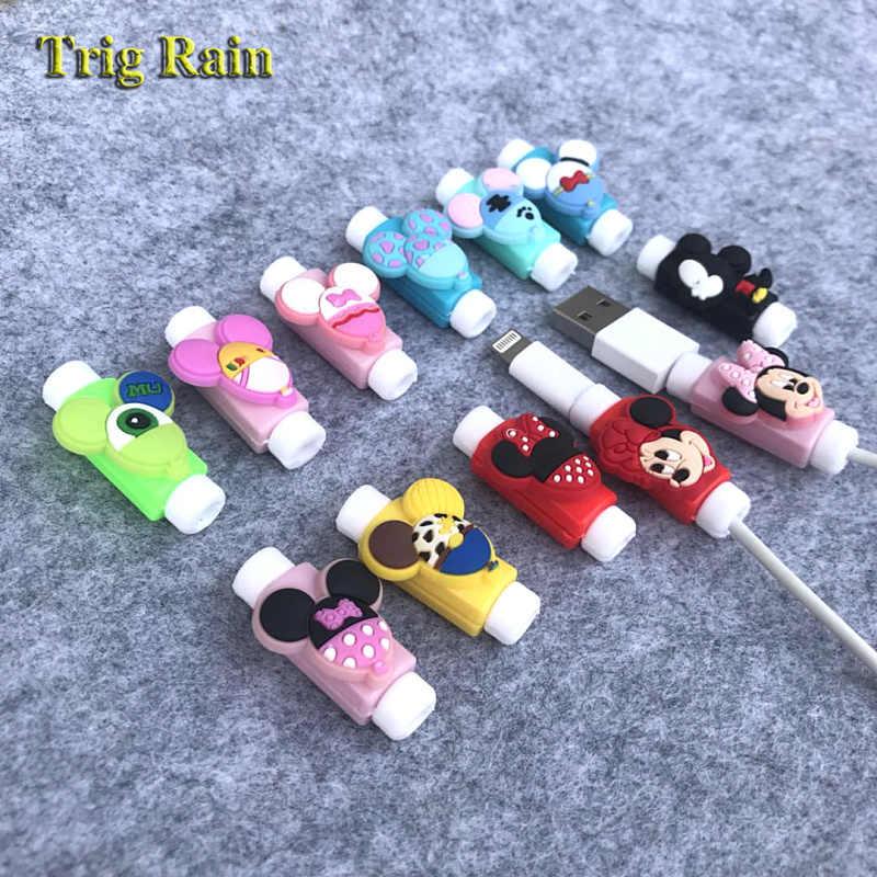 Hoạt Hình Dễ Thương Mickey Minnie Bảo Vệ Cáp Cho Iphonex 4 5 6 6 S 7 8 Sạc USB Dòng Dây Bảo Vệ ốp Lưng Cáp Aó Gió Bao