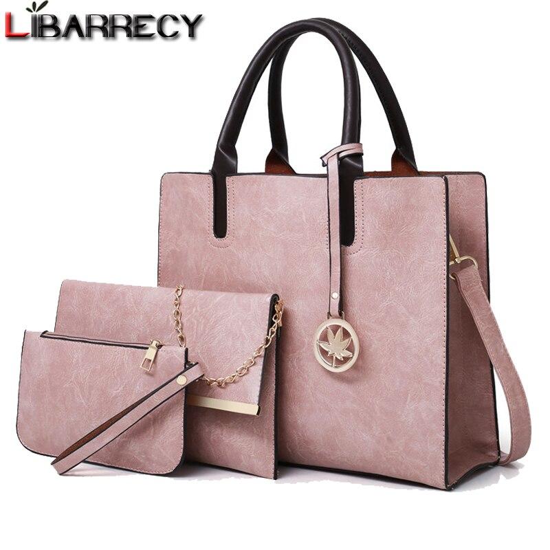 New Fashion 3 Psc/set Women's Handbags Large Capacity Women Bag Simple Shoulder Bags For Women 2018 Composite Tote Small Wallet