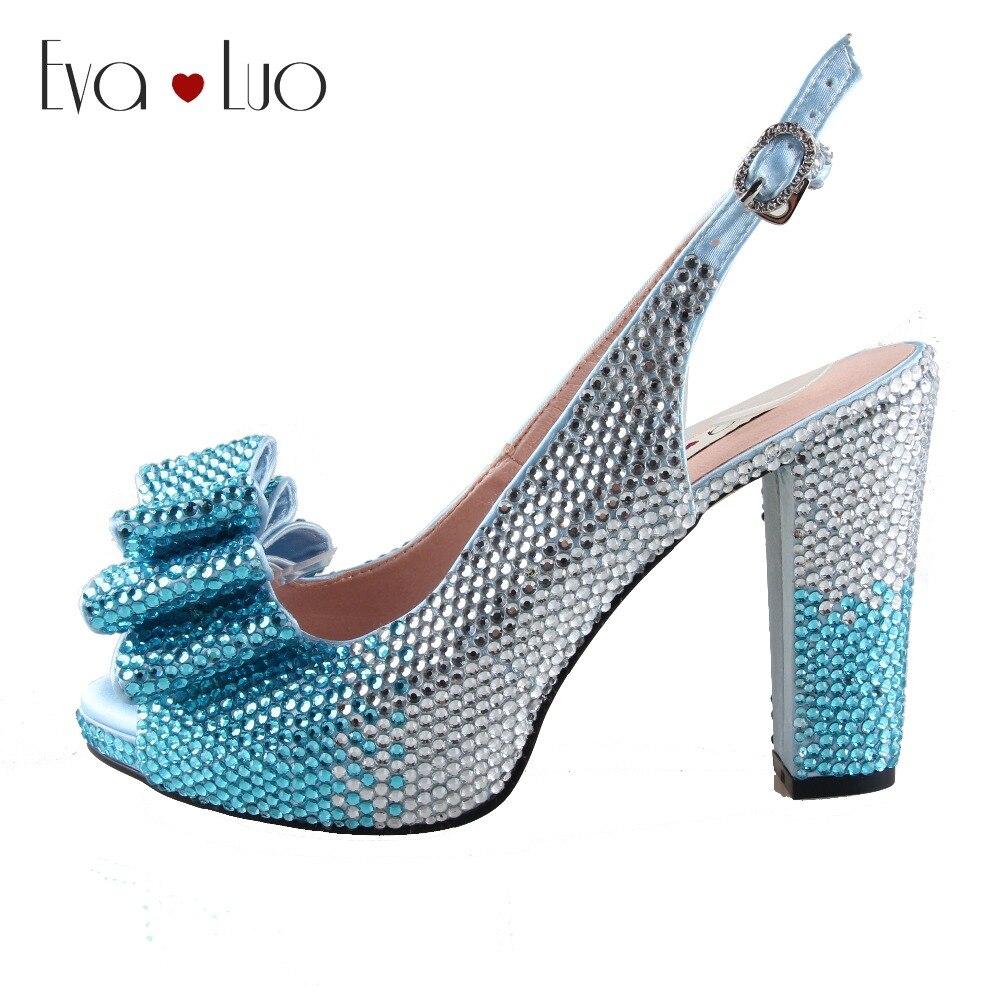 CHS959 DHL hecho a medida Power Blue Crystal Bow Slingbacks zapatos de tacón de mujer zapatos de tacones altos zapatos de novia-in Zapatos de tacón de mujer from zapatos    1
