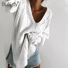 Hollow Out Knitted Split Pullover Ruffles Long Sleeve White Sweater