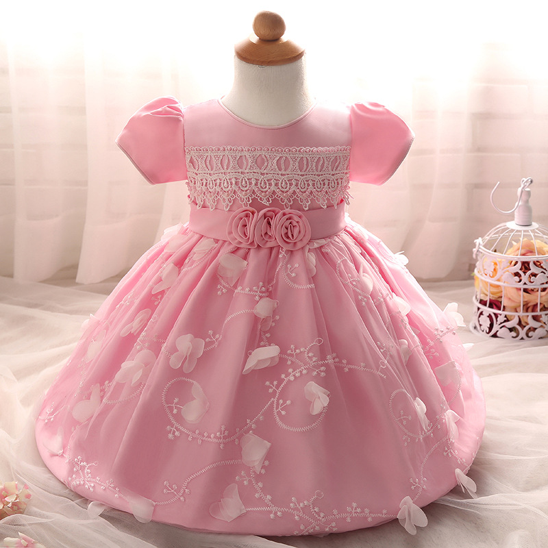 Beaded Lace Applique Pearl Flower Baptism Christening Gown Baby Girl ...