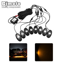 Bjmoto Motorcycle Truck Car 8Pod RGB LED Rock Lights Bluetooth APP Music DIY Flashing Multi Lamp for Jeep Off Road ATV SUV Boat