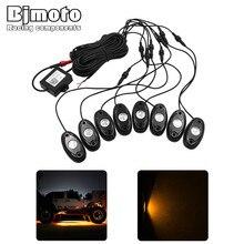 Bjmoto 8Pod RGB LED Del Motociclo del Camion Dell'automobile Rock Luci Bluetooth APP musica FAI DA TE Lampeggiante Multi Lampada per Jeep Off Road ATV SUV barca