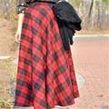 7XL Outono Inverno das Mulheres Engrossar Quente de Lã da Manta Plissada Saia Longa Saias Saias Das Senhoras da Alta Qualidade