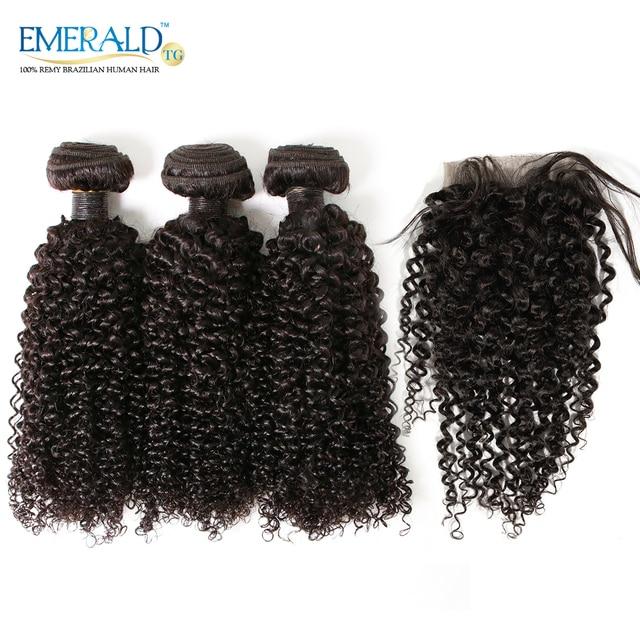 Bliss Hair Brazilian Human Hair Bundles With Lace Closure Kinky Curl