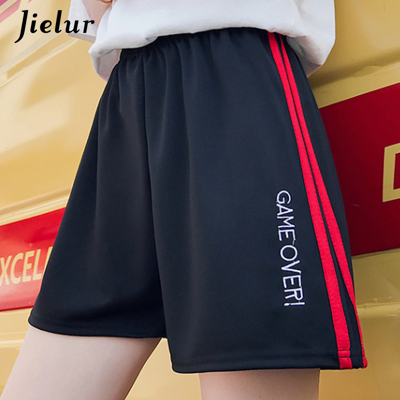 Jielur Shorts Summer Women Embroidery Side-Stripe High-Waist Black Harajuku Pockets Spodenki