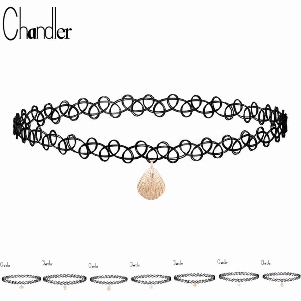 Chandler 10 Styles Stretch Tattoo Choker Necklace For Women Dangle Sexy Summer Bikini Chokers Plastic Elastic Fashion Jewellry