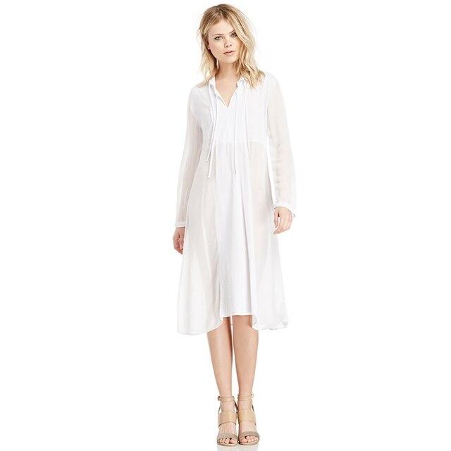 71671437a959 MINSUNDA Sexy High Street Fashionable Plunge Midi Dresses Women White Deep V  Neck Self-Tie Long Sleeve Chiffon Dress