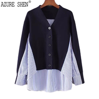 [AZURE SHEN] 2018 New Spring Summer Fashion Frau Tops Langarm Verstärktes Striped Gefälschte Zwei Stücke V-ausschnitt bluse hemd S077
