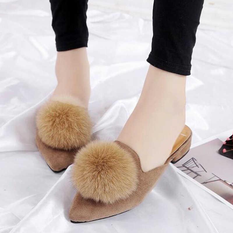 5076de7ccf7 ... COVOYYAR Cute Furry Ball Women Slippers Mules 2019 Fashion Slingback  Pointed Toe Women Slides Low Heel ...