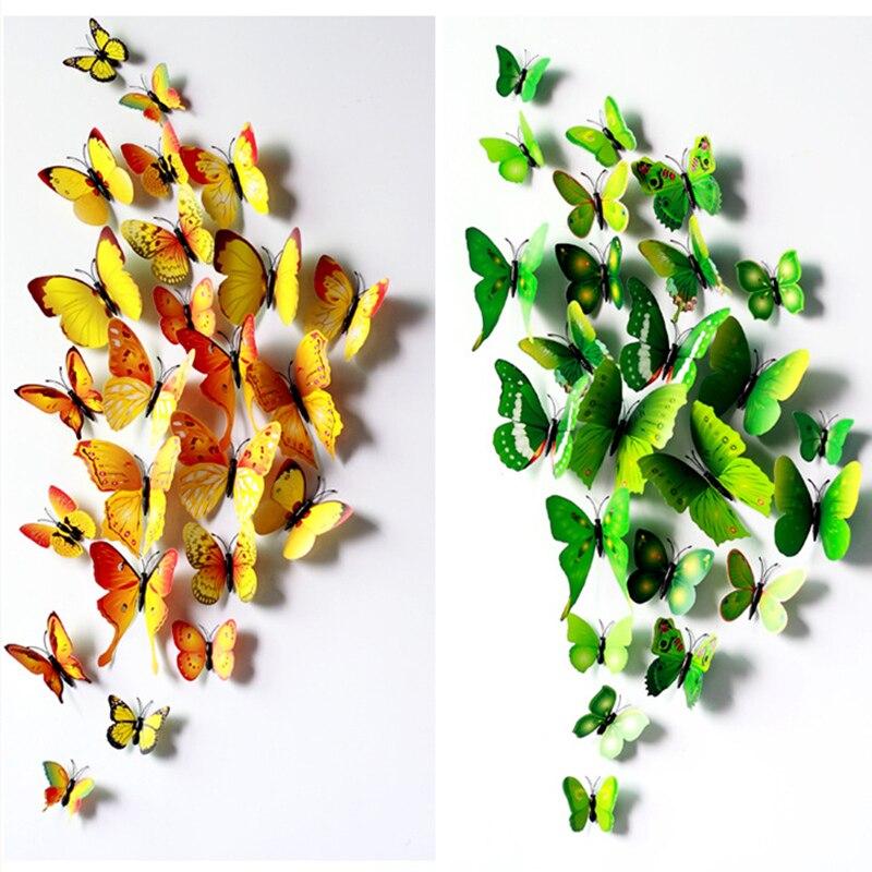 12 unids/set DIY 3D mariposa pegatinas de pared decoración para el hogar sala de