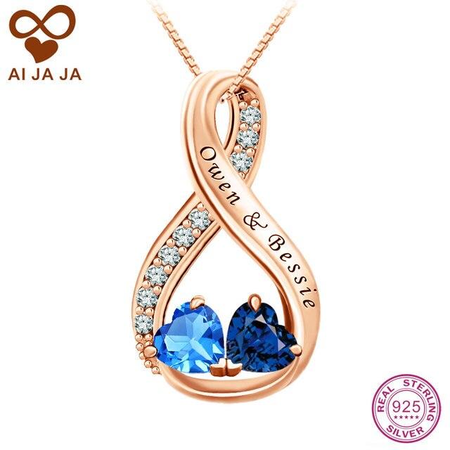 3865a05e6005 AIJAJA 925 Birthstones Infinito Collares y Colgantes de Plata de Ley 2 Nombres  Grabados Personalizados Corazón