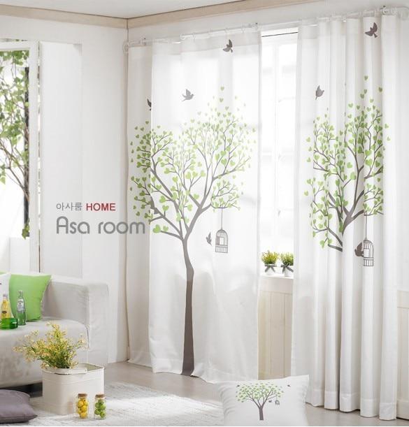 Rideaux Oiseaux frais campagne coton et lin rideau fini rideau 130*260 cm arbre et