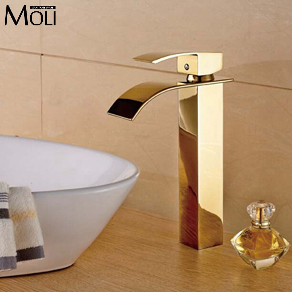 aliexpress   buy gold bathroom faucets tall basin sink water. Gold Bathroom Fixtures pictures   A1houston com