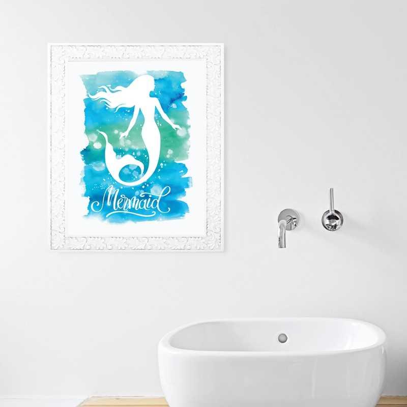 Cat Air Putri Duyung Wall Art Print dan Poster, Digambar Tangan Klasik Karakter Putri Duyung Kanvas Lukisan Gambar Dekorasi Dinding