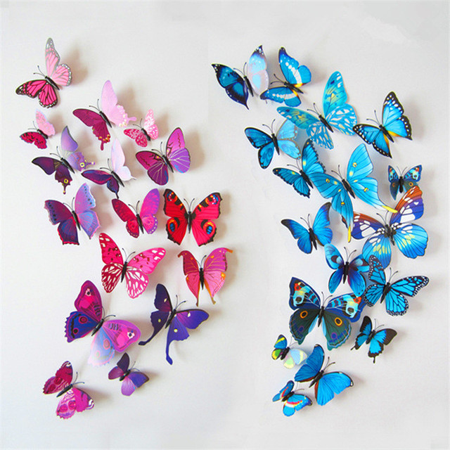 12pcs/lot Butterfly Home Decoration 3D Simulation Buterfly Wall Stickers Home Living Room Decal Magnet Crafts Holiday Decoration