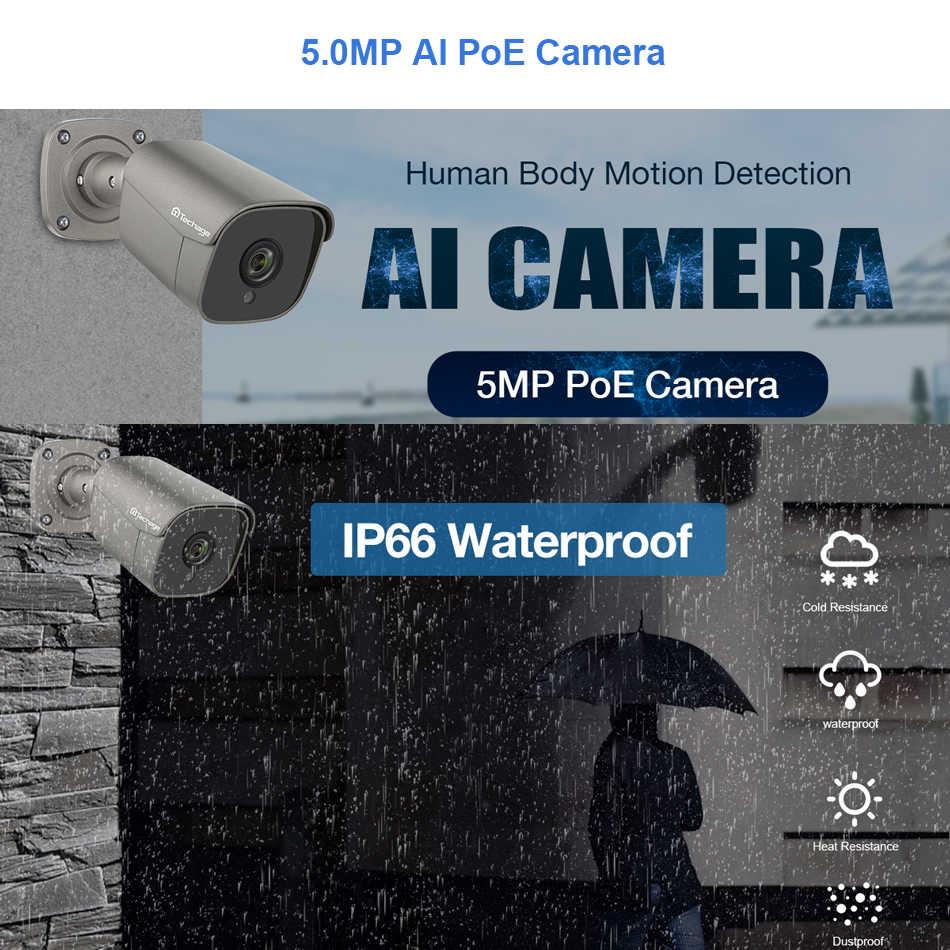 Techage 8CH 5MP HD POE NVR zestaw System CCTV dwukierunkowy Audio AI kamera IP IR Cut odkryty P2P zestaw nadzoru bezpieczeństwa wideo 2TB HDD