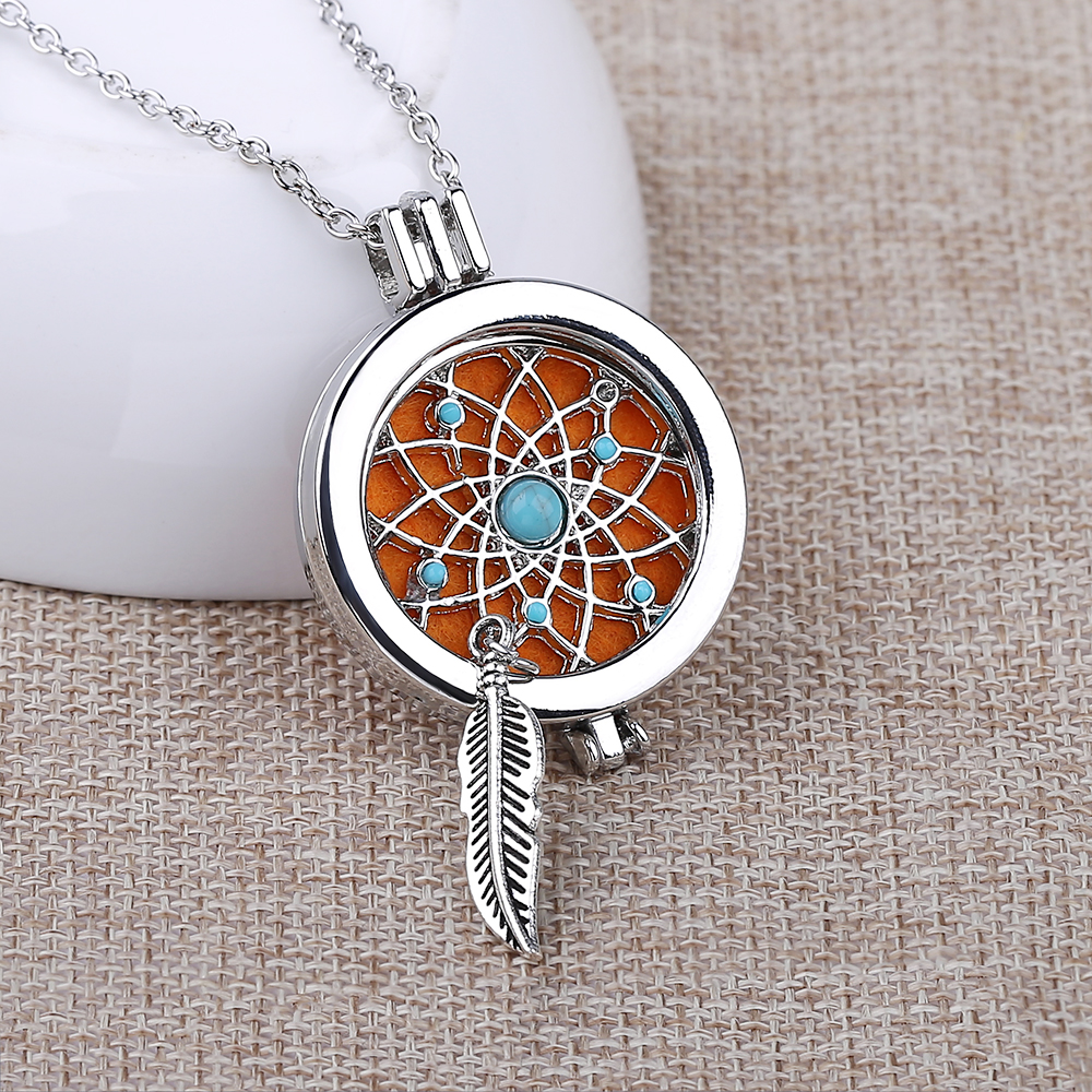 Silver Plated Dream Catcher Coin Disc With Aromatherapy Locks