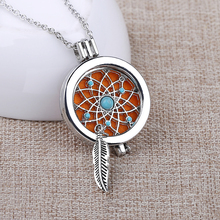 Silver Plated Dream Catcher Coin Disc With Aromatherapy Locket Women Perfume Fragrance Essential Oil Diffuser Pendant Necklace
