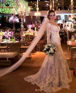 Image 4 - קו ארוך שרוול תחרה חרוזים פאייטים יוקרה מדהים כלה שמלות כלה 2020 שמלות כלה אופנה חדשות תפור לפי מידה YB38