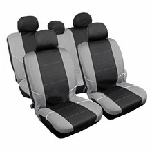 2017 UNIVERSAL STYLING CAR CASES AUTO INTERIOR ACCESSORIES AUTOMOTIVE SEAT COVER Black-Grey 9 PCS