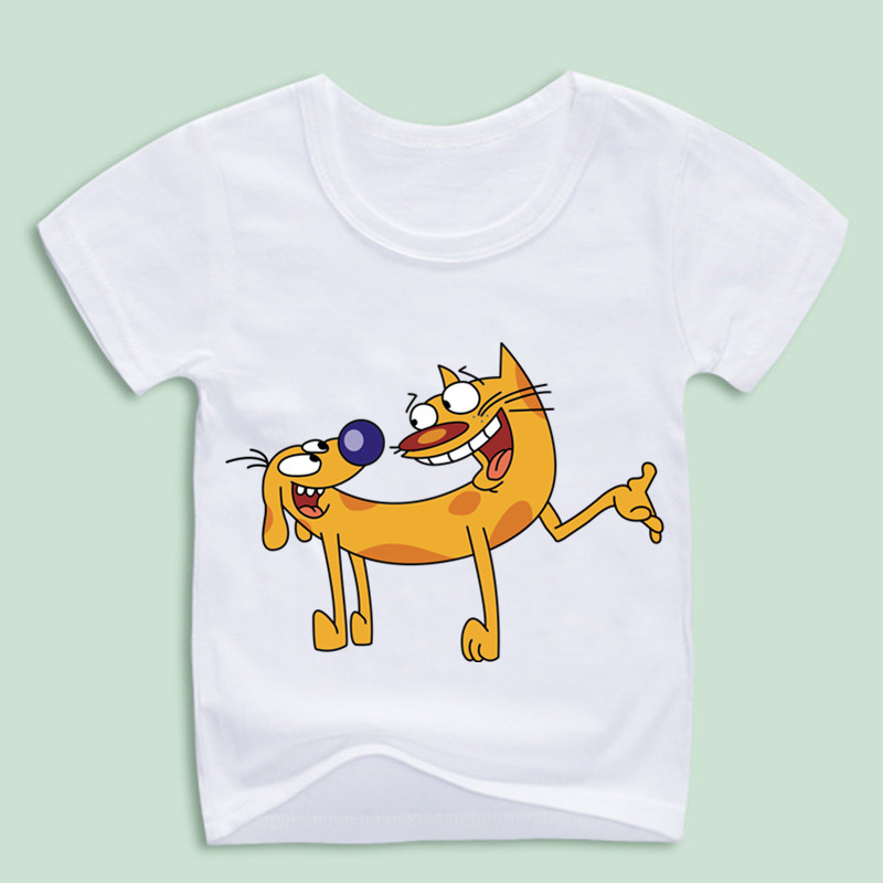 Children's Cartoon Catdog Print Tee Shirt Kid Comic Funny Cute Doge Clothing Baby Animal Dog Cat Tops,OM004C casual cat print ringer tee