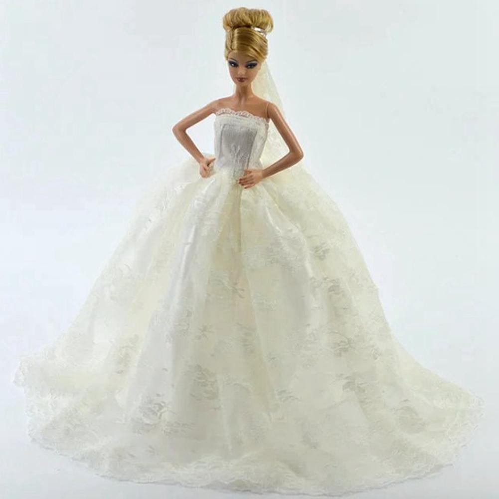 LeadingStar Beautiful White Princess Wedding Dress Noble Party Gown For Barbie Doll Fashion Outfit Best Gift Doll With Veil leadingstar 2017 new wedding bridal dress princess gown evening party dress doll clothes fit for barbie doll for kids gift zk30